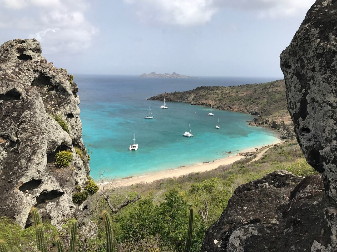 Sea Water Nature Beauty In Nature Rock Formation High Angle View Day Tranquility No People Beach Stbarth Caribbean Sea Colombier Saintbarthalemy