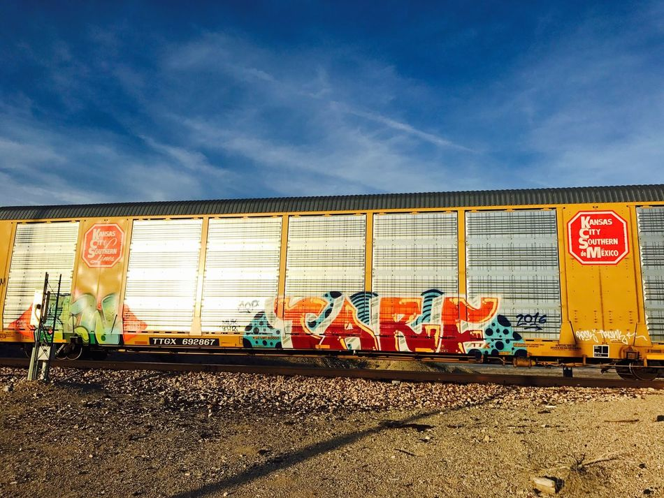 Graffitiart Land Vehicle Sky No People Traincar Afternoonlight Having Fun Taking Pictures Messing Around