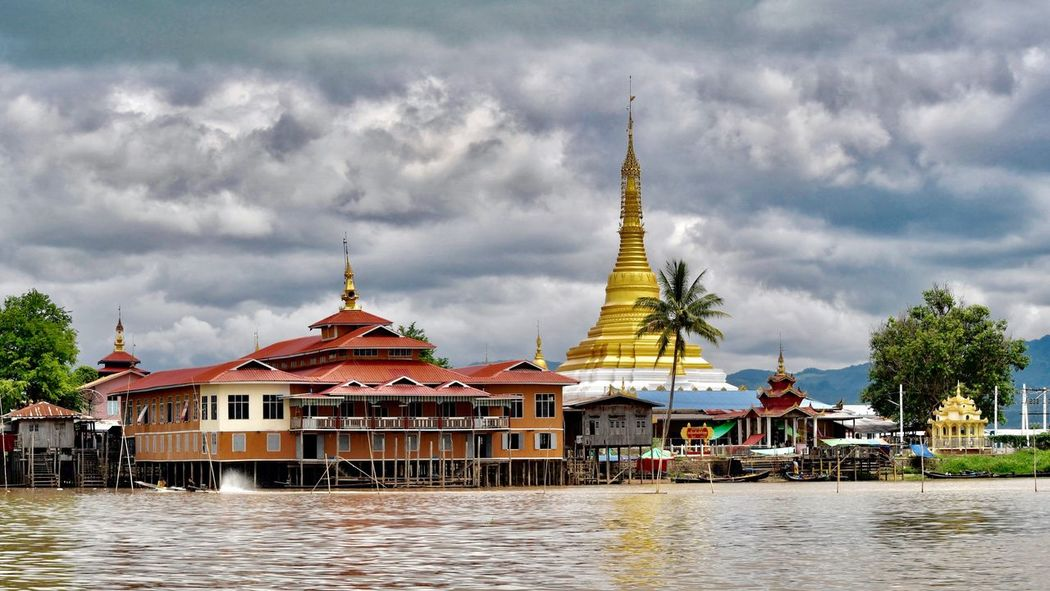 Inle Lake Nyaungshwe Burma Myanmar Architecture Religion Cloud - Sky Sky Spirituality Built Structure Building Exterior Place Of Worship Day Outdoors Travel Destinations Nature No People Water Birmania Buddhist Temple Buddha Temple Buddhism Pagoda Golden Pagoda South East Asia EyeEm Selects EyeEmNewHere