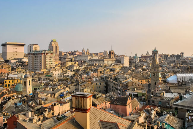 The city center of Genova during the sunset Aerial Aerial View Buildings Carrugi Centro Storico City City Center Cityscape Exterior Genoa Genova Golden Hour Italy Liguria Out Outdoors Outside Panoramic Roofs Sky Sunrise Sunset Touristic Urban View
