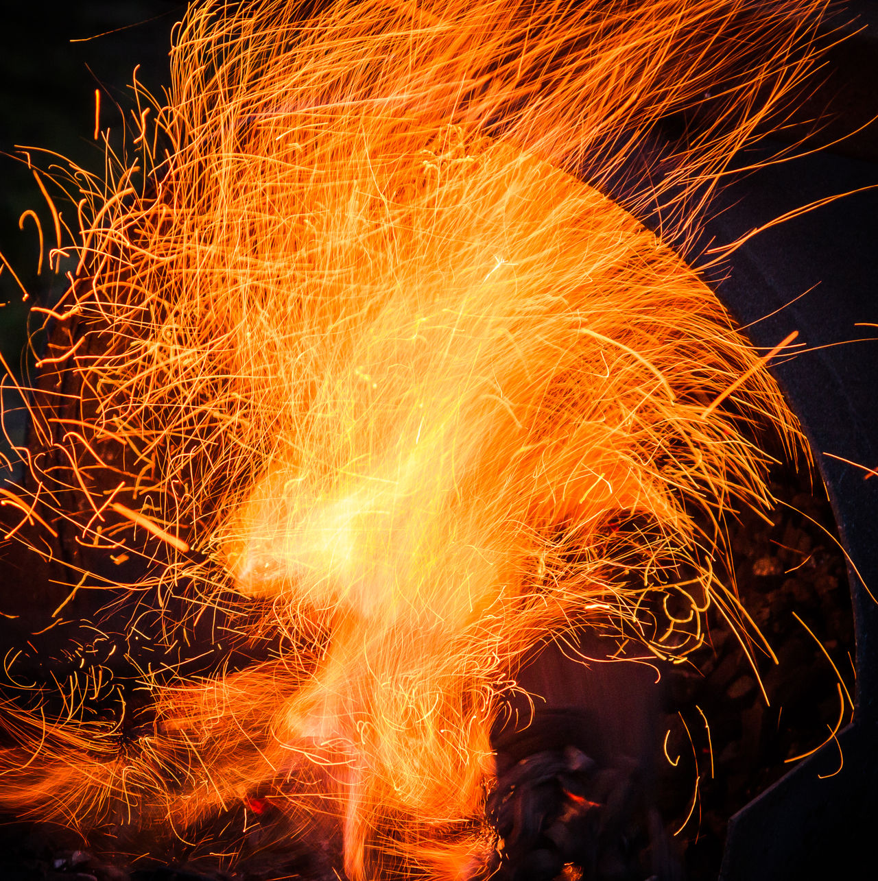 Black Background Close-up Fire Flame Heat Illuminated Indoors  Long Exposure Motion Night No People Sparks Sparks Fly Sparks Flying