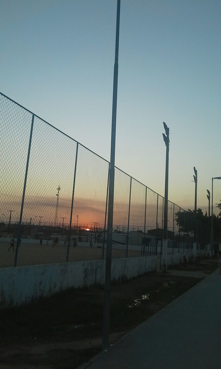 sunset, sky, clear sky, outdoors, no people, nature, transportation, water, scenics, beach volleyball, beauty in nature, day