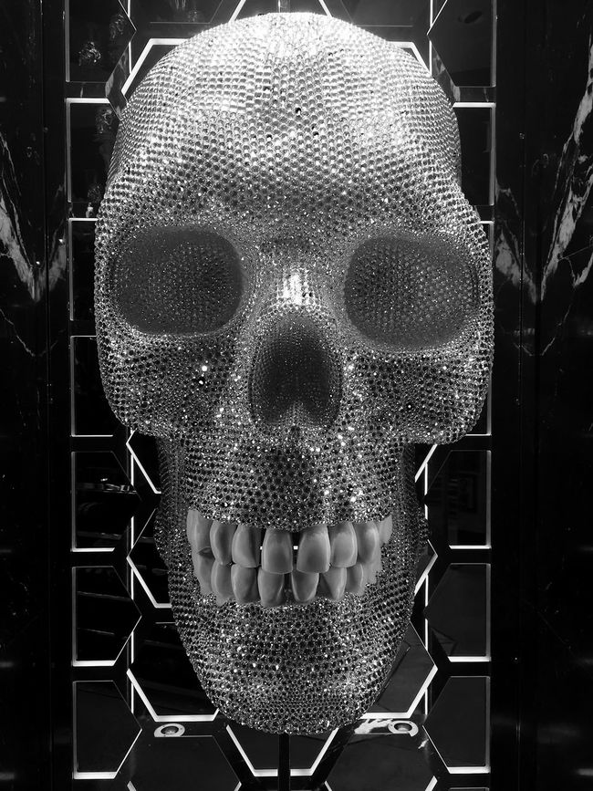 Art ArtWork Black And White Blackandwhite Close Up Close-up Diamond Fetish Focus On Foreground Front View Fur Headshot Human Face Jewellery Mask - Disguise Metalhead Ornate Shop Silver  Skull Skull Face Street Photography Streetphotography Teeths