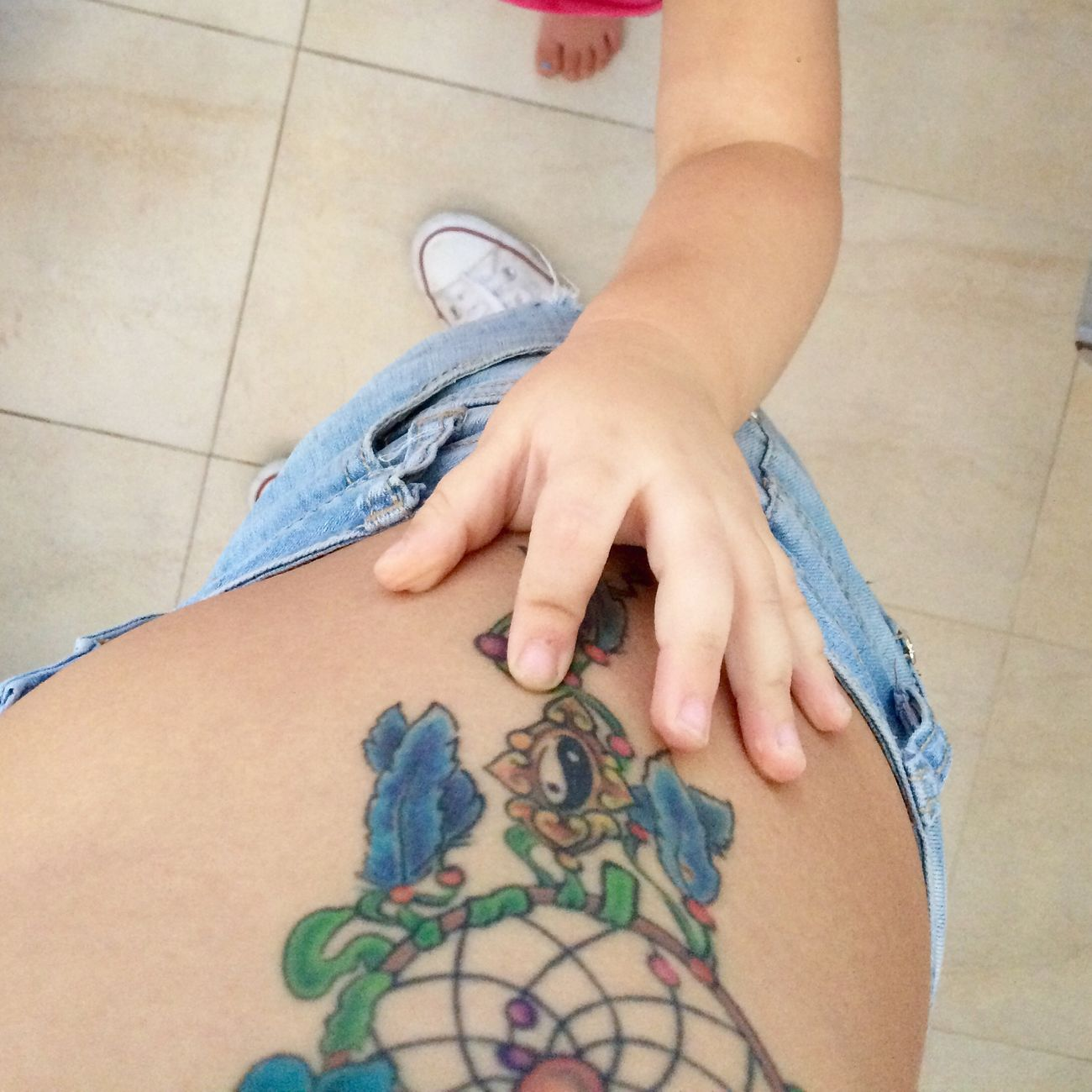 My Little Baby At Work Baby Sitting She Loves My Tattoo Lovely Sweet