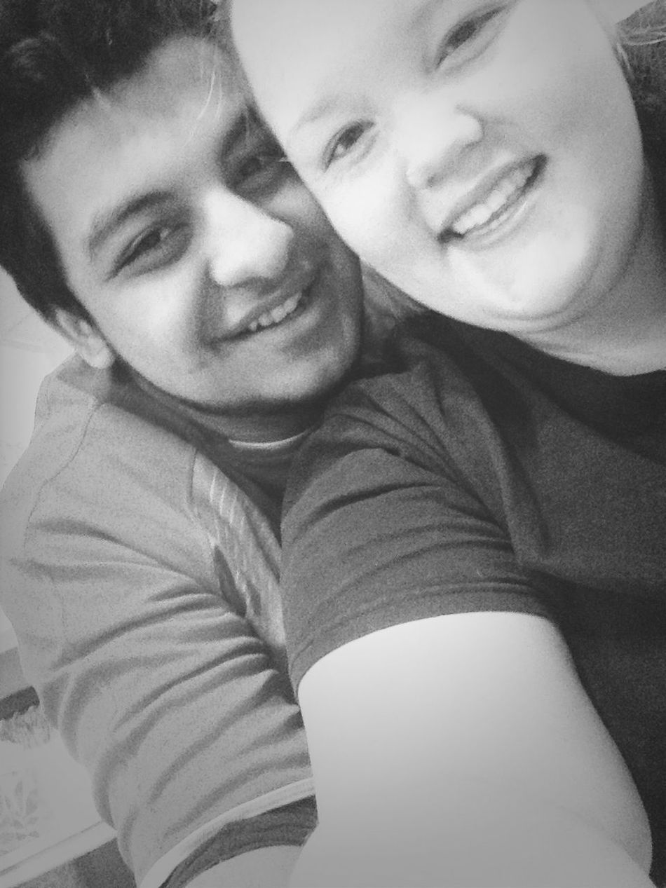 I look goofy but at least he smiled! : )