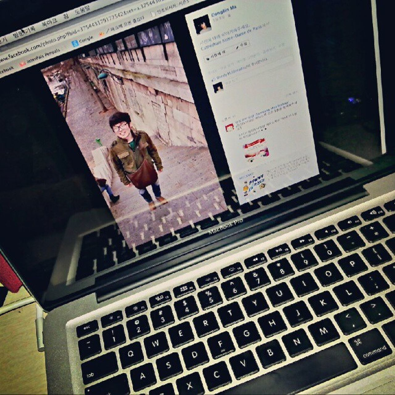:D MacBook Pro 13inch Facebook me paris brown bag orive jacket abercrombie jeans dsquared2 glasses fashion korean