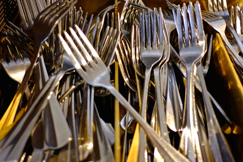 Forks Abundance Backgrounds Close-up Day Eating Out Fork Indoors  Kitchen Utensils Large Group Of Objects Metal Metallic No People Shiny