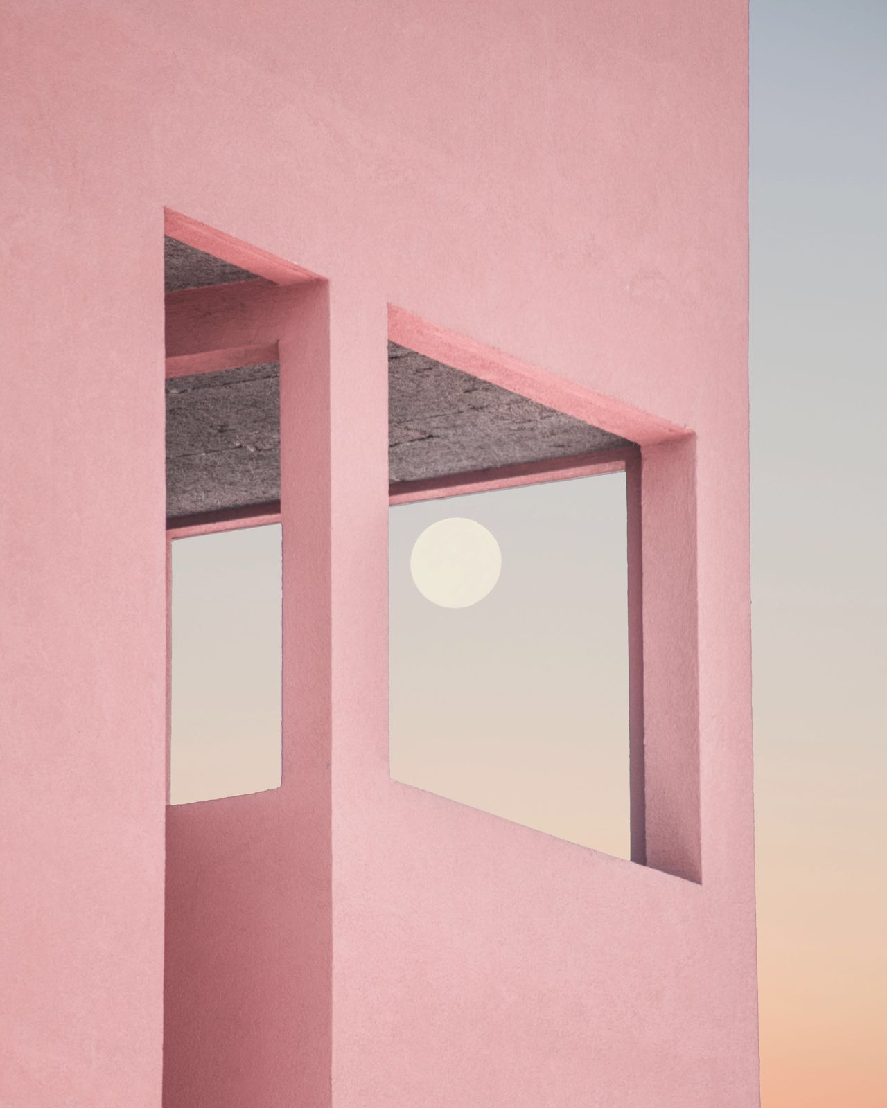 Architecture no people sky Moon Fine Art Photography Contemporary Art City pink color sunset