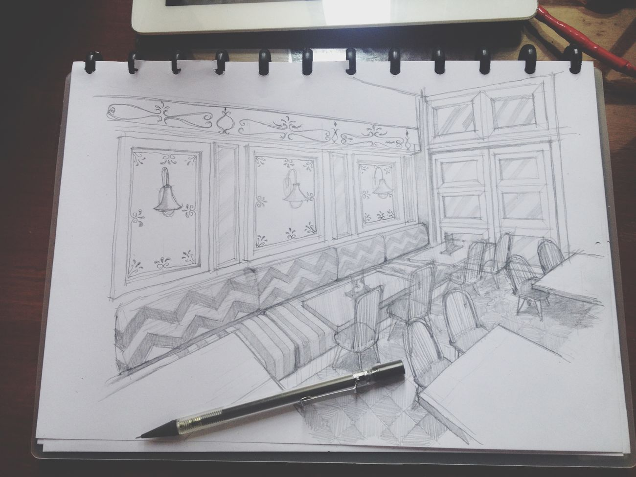 sunday sketch Sketch Drawing Doodling Interior Design Design Cafe Vintage Pencil Jheffryswid Design Art