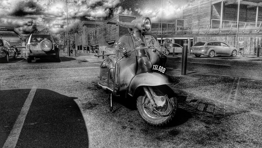 Vespa Lambretta Old Scooter For The Love Of Black And White Vintage Motorcycles For The Love Of Snapseed HTC_photography Hdr Edit Shadows And Light In Town Carparks