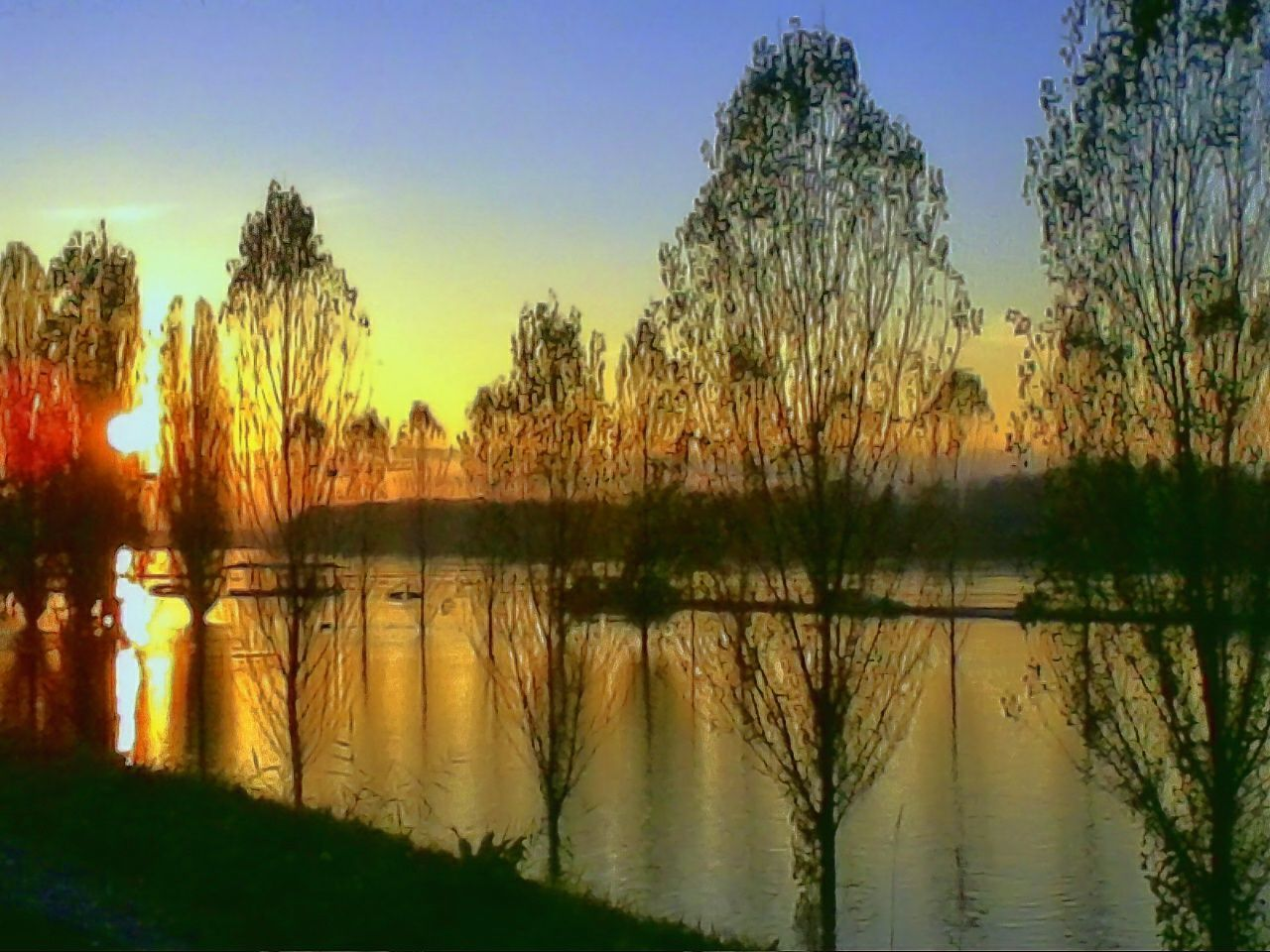 lake, reflection, water, tree, tranquil scene, nature, beauty in nature, scenics, tranquility, sunset, silhouette, outdoors, no people, travel destinations, grass, sky, growth, day