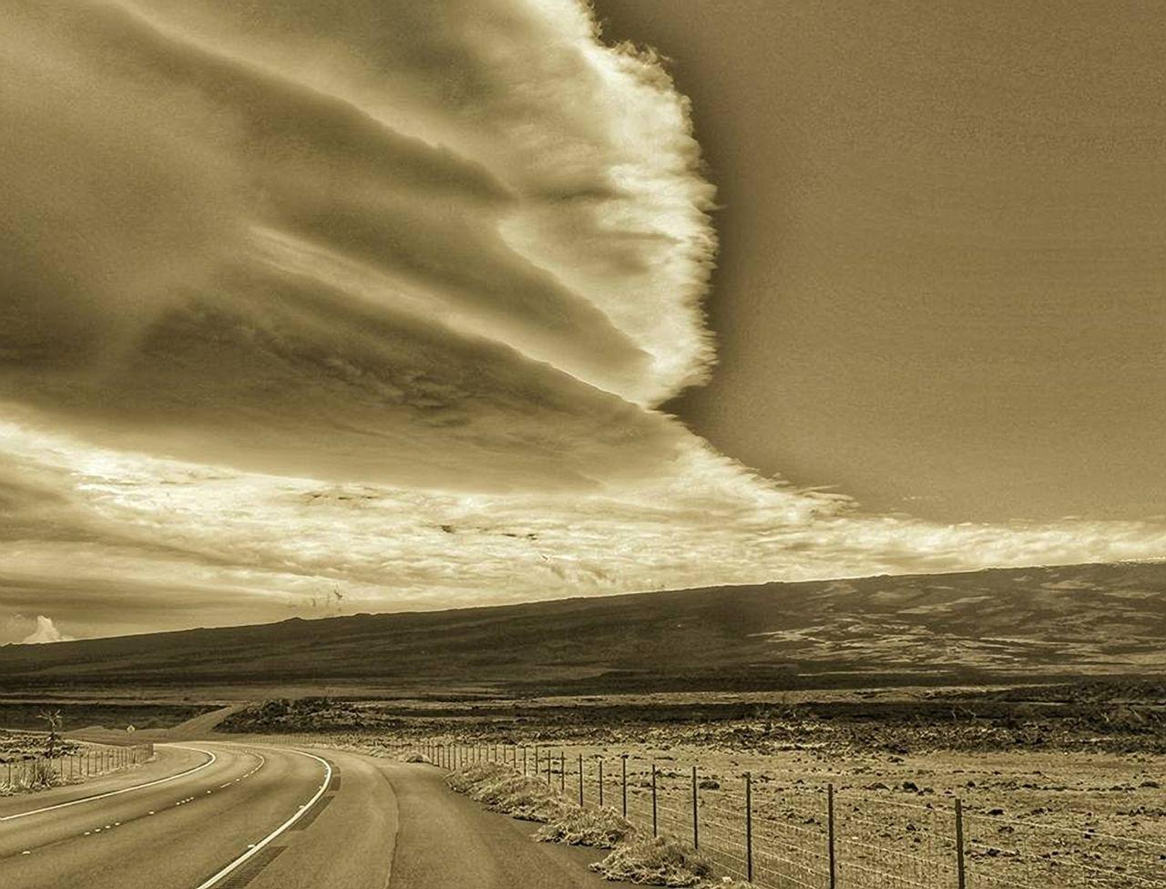 Beauty In Nature Cloud Cloud - Sky Cloudy Diminishing Perspective Hawaii HAWAII Island Landscape Mauna Loa Mountain Nature Outdoors Remote Road Road Marking Saddle Road Scenics Sky Transportation Upland Hawaii Volcanic Landscape Weather