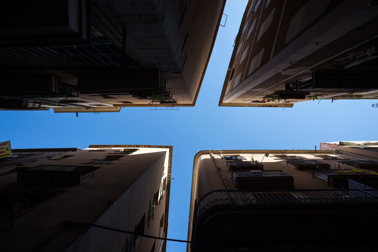 Abstract Architecture Barcelona Barri Gótic Blue City Crossroads Day Discover Your City Historic Building Look Up Minimal No People Old Outdoors Sky Spaın Summer Sun Adapted To The City