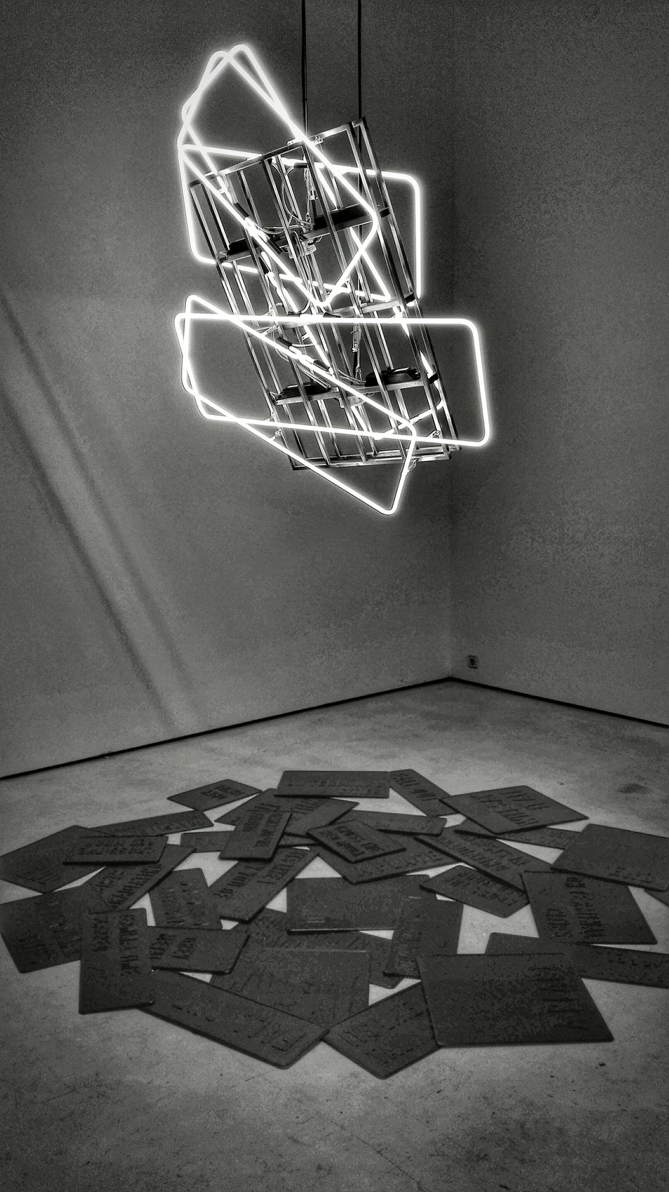 Blackandwhite Darkness And Light Art Gallery Neon Lights Exhibition