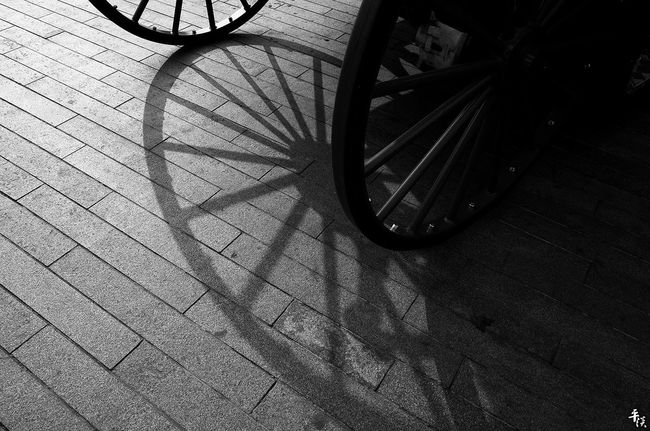 Transportation Land Vehicle Street Car High Angle View Mode Of Transport Cobblestone Bicycle Stationary Outdoors Day No People Pedestrian Walkway Surface Level Your Design Story Tianjin China Black And White Black & White Stree Photography Street Photo Ricoh Gr