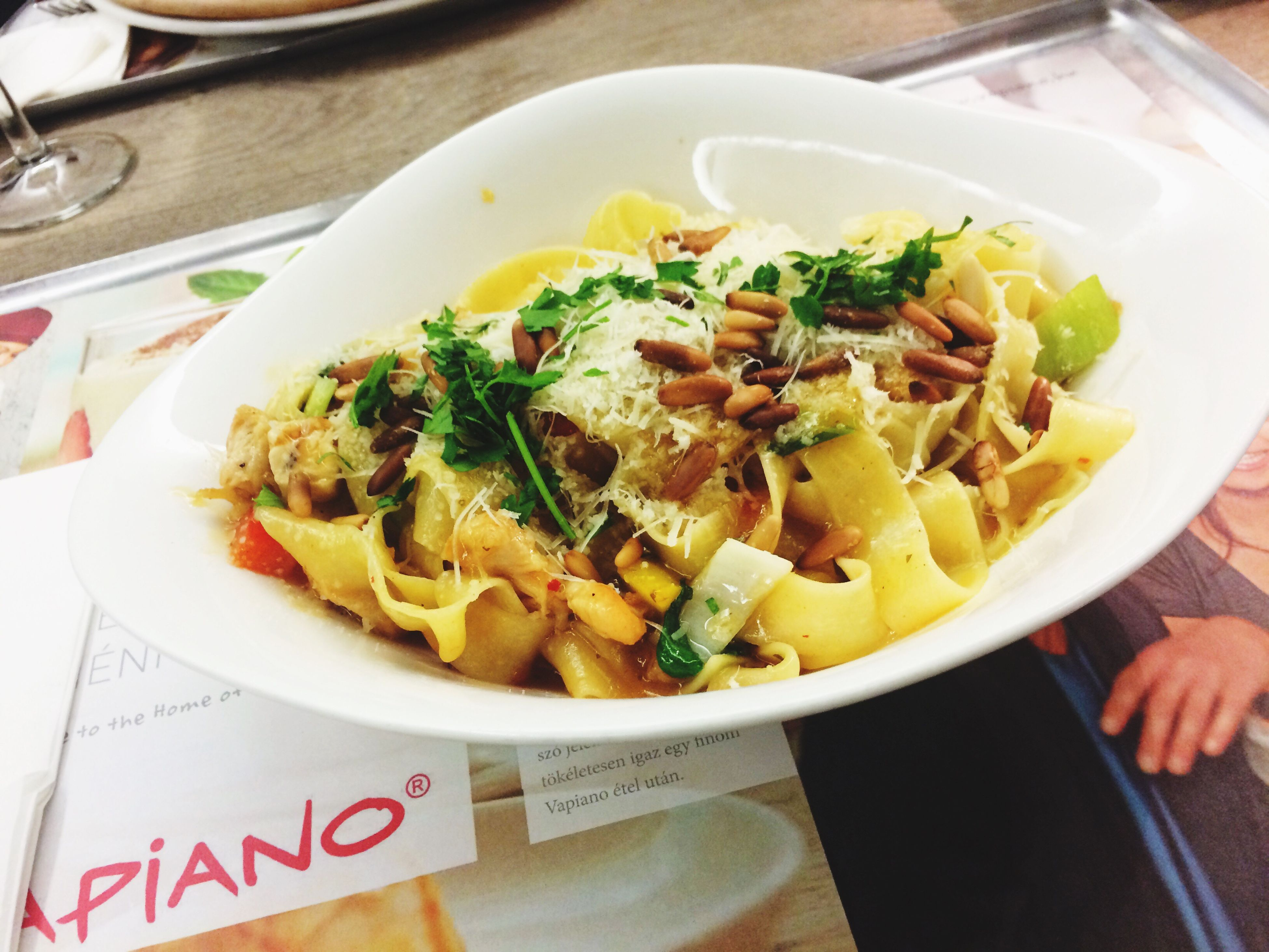 plate, pasta, food and drink, food, high angle view, freshness, indoors, close-up, ready-to-eat, italian food, table, no people, day