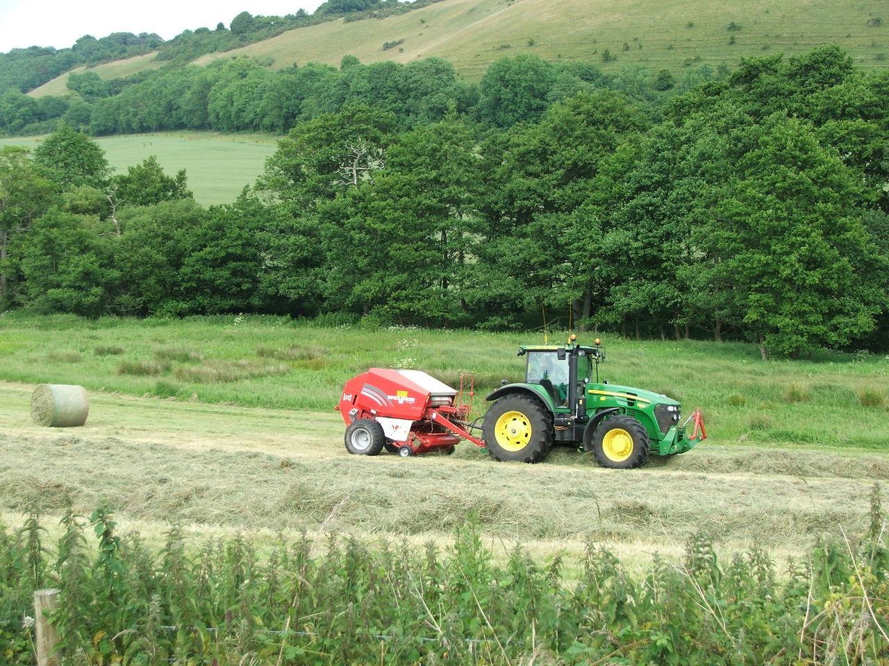 Haymaking The Modern Way John Deeer Tractor Agriculture Summer Time  Feilds Trees Having Fun :)