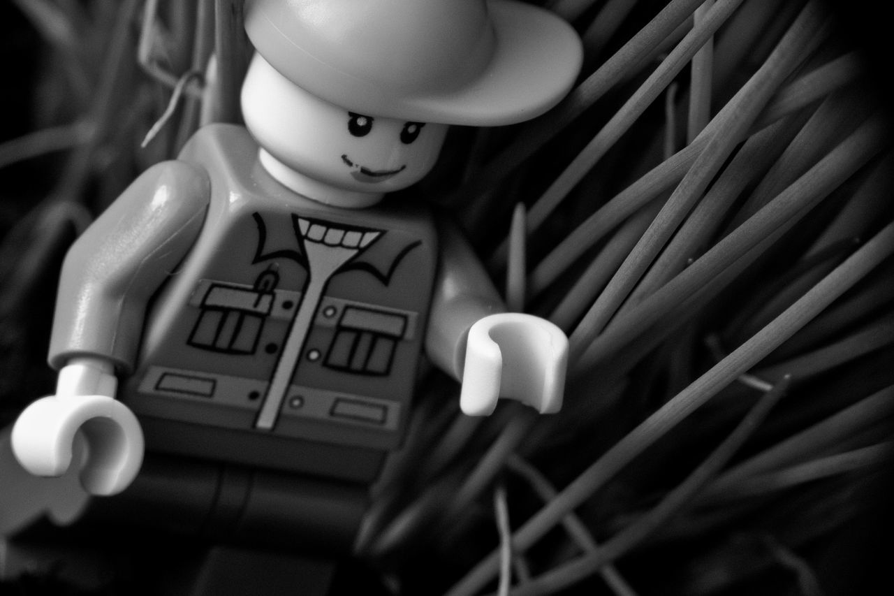 Adventure Blade Of Grass Forest Exploring Human Representation Into The Garden LEGO Lego Adventures Lego Close Up Lego Macro Lego Man Lego Minifigures Macro No People Toy Black And White