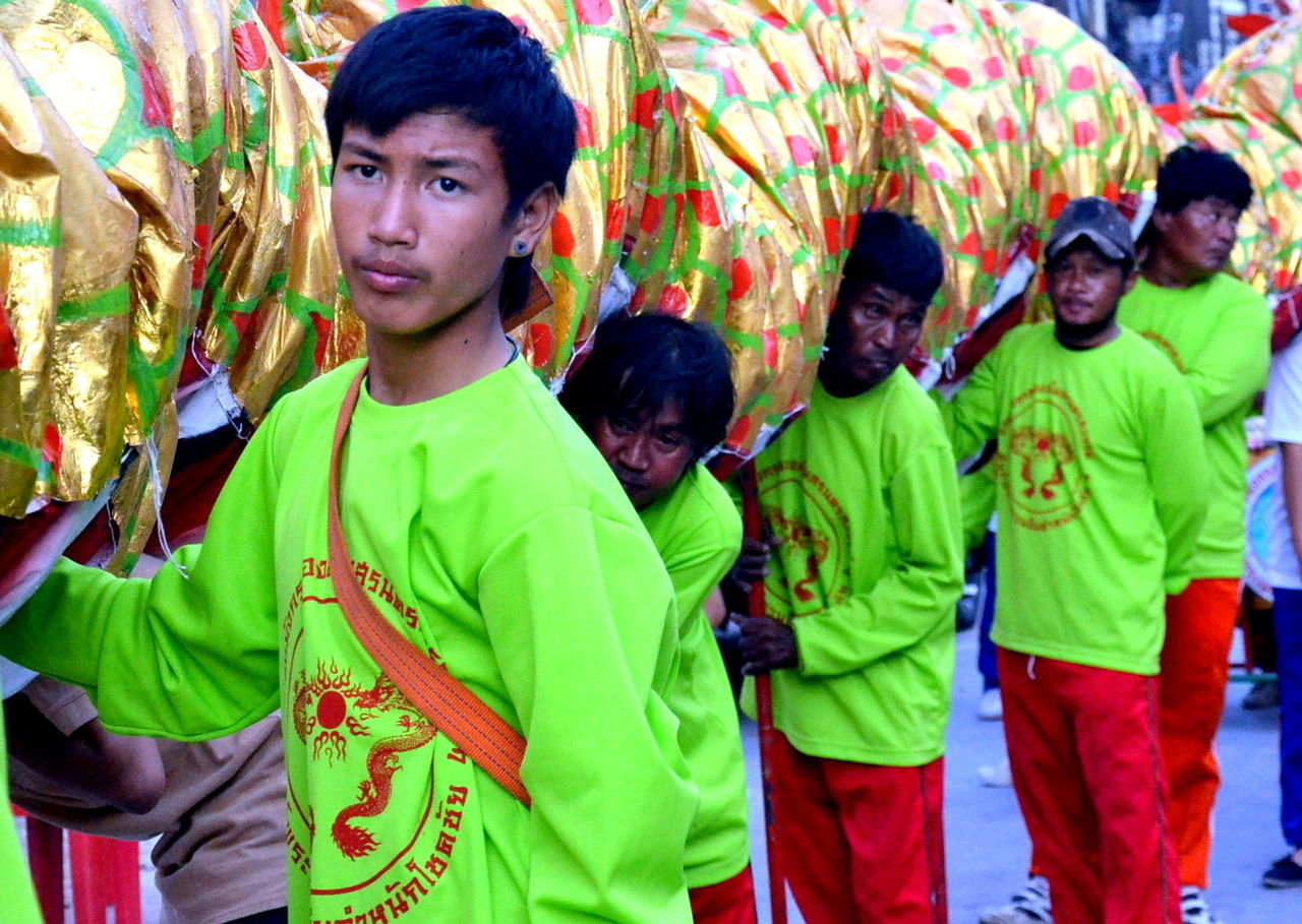 Adult Adults Only Boy Chinese New Year Day Dragon Happiness Holi Human Body Part Looking At Camera Men Multi Colored Only Men Outdoors People Portrait Smiling Teenage Boy Teenage Boys Togetherness Young Adult Young Men