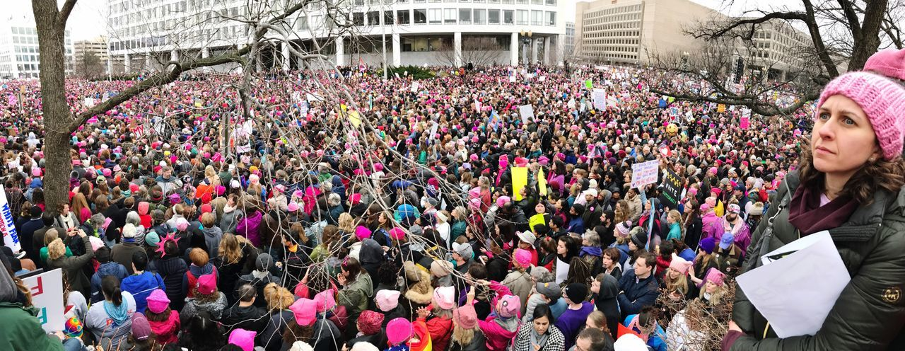 Resist Large Group Of People Movement Feminist Feminism Protest Women's March On Washington Panoramic Resistance  Donald Trump Crowd