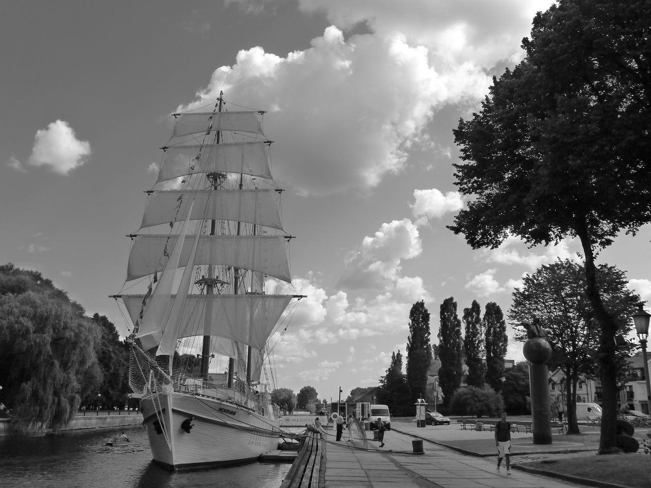 Blackandwhite Cloud - Sky Day Mast Nautical Vessel No People Outdoors Sailing Ship Sea Sky Tall Ship Tree Water