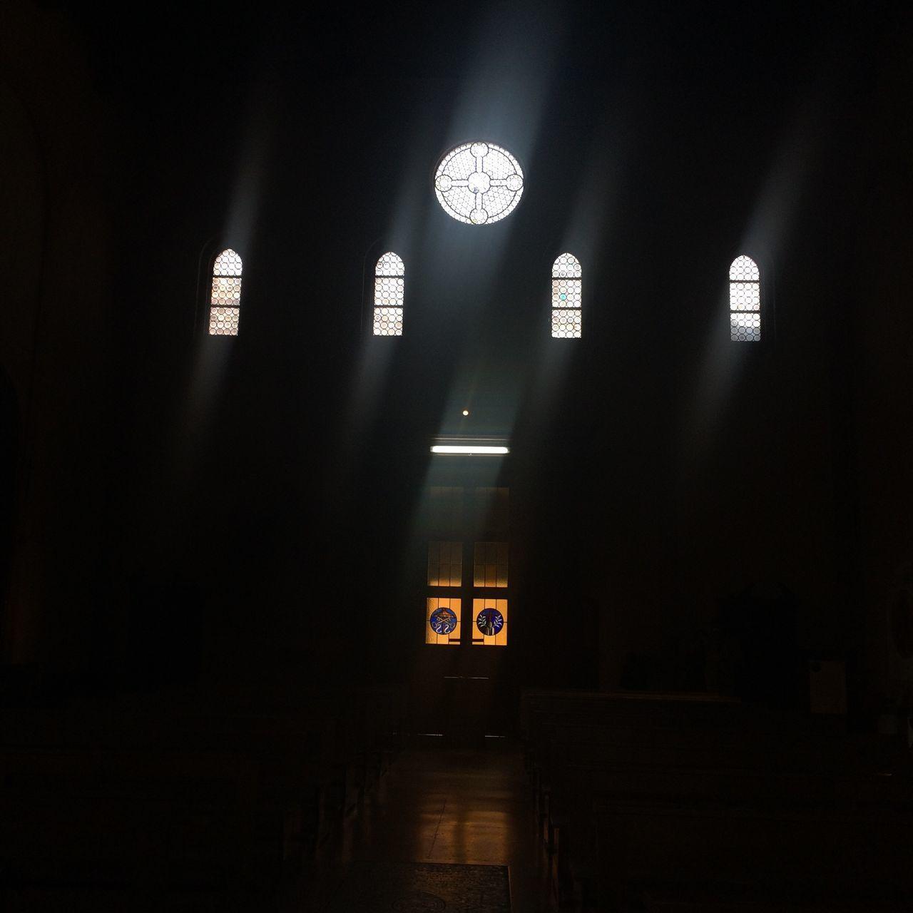 indoors, illuminated, dark, built structure, architecture, no people, night