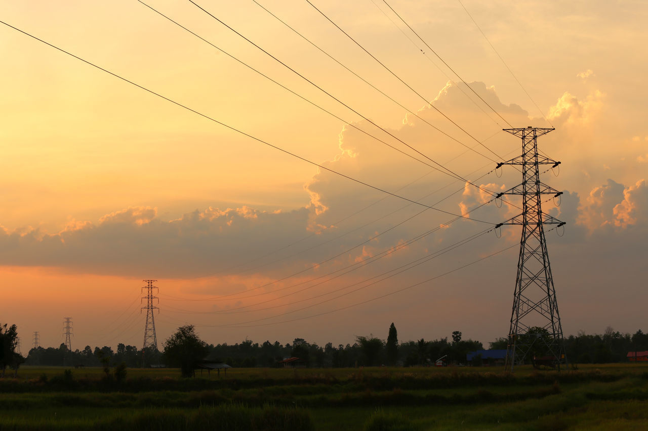 cable, sunset, connection, electricity pylon, electricity, fuel and power generation, power line, technology, power supply, sky, field, no people, nature, landscape, outdoors, tranquility, rural scene, scenics, tree, beauty in nature, day