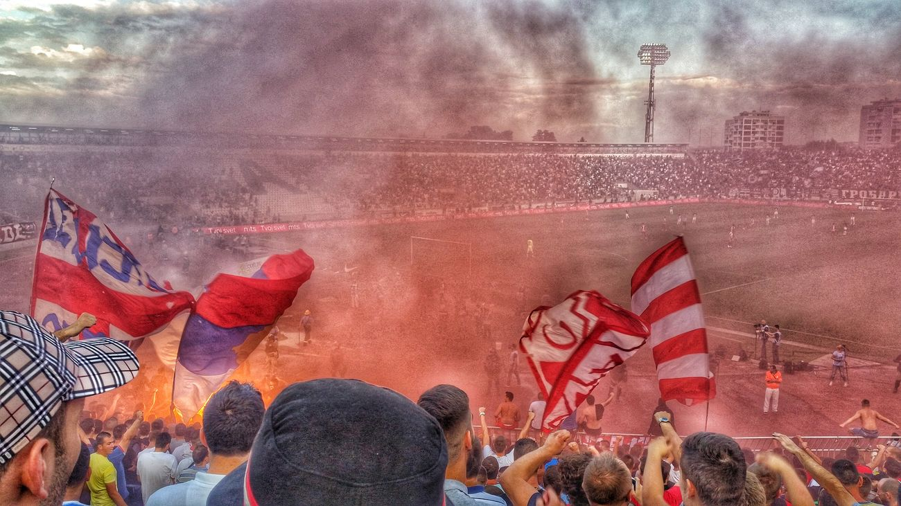 Flag Crowd Football Soccer Chant Stadium Stadium Atmosphere Torches Smokebomb Smoke Pyrotechnics Passion EyeEmNewHere Sky