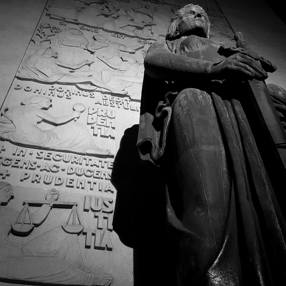 Prudentia Black And WhiteMonochrome Photography Text Statue Paper Vertical Outdoors Justice Prudence Night Courthouse Sword