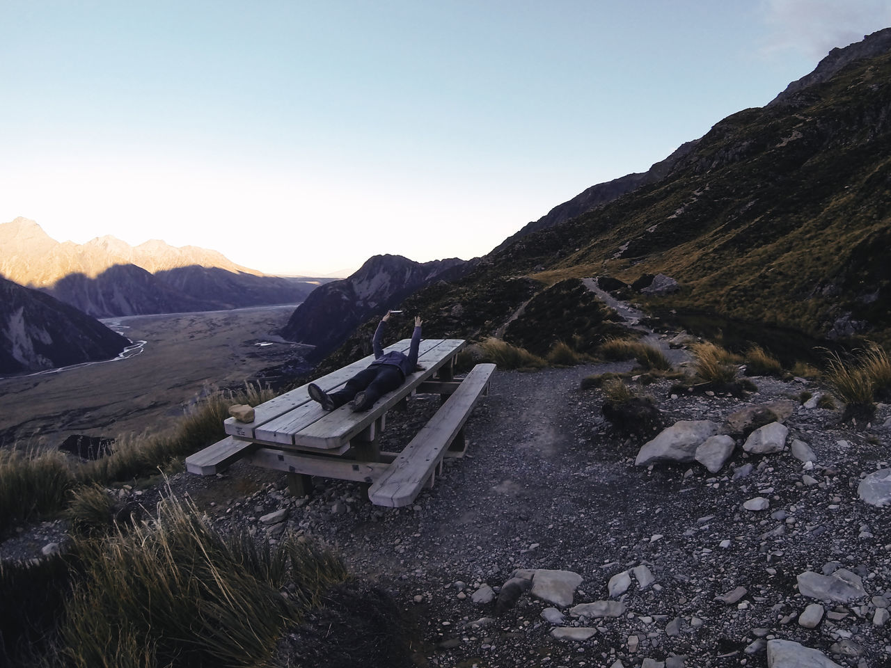 Mt Cook / Canterbury / South Island / New Zealand Day Laying Down Mountain Nature One Person Outdoors People Sky Sunset Tree