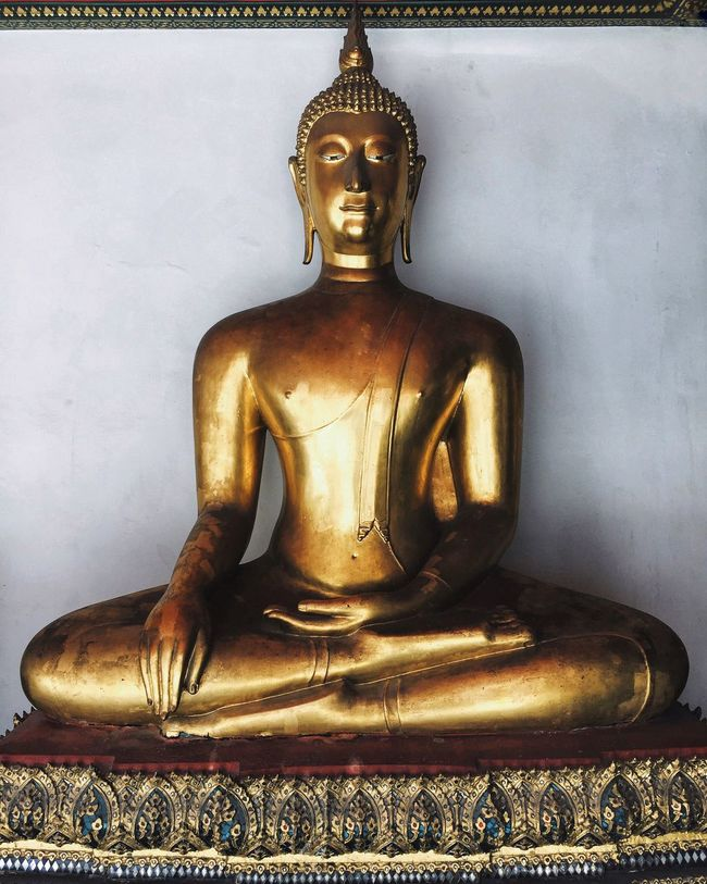 Bangkok Buddha Religion Spirituality Statue Sculpture Human Representation Art And Craft Place Of Worship Gold Idol Gilded Golden Color Temple