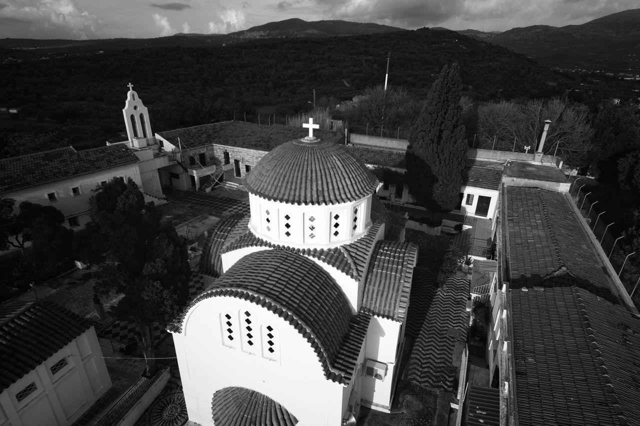 Blackandwhite Photography Aerial Shot Dronephotography Monastery Architecture Religion Church Architecture Religious Architecture Blackandwhite Travel Destinations Aerial View Tranquil Scene Church Calmness Tranquility Architecture Built Structure Building Exterior No People Outdoors Malephotographerofthemonth Dome Trees Early Morning Beauty In Nature
