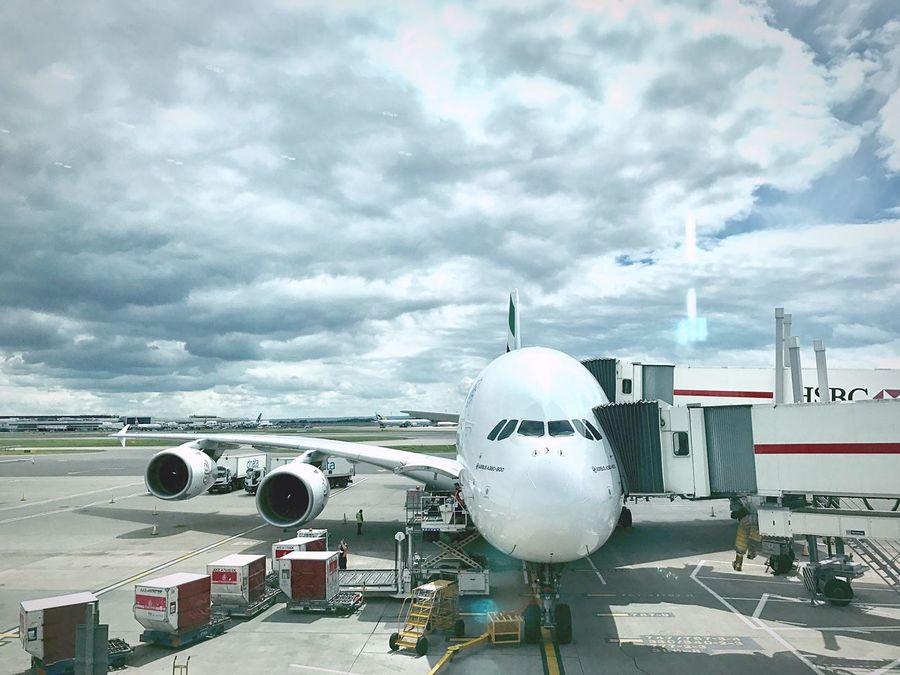 Airplane Transportation Cloud - Sky Airport Passenger Boarding Bridge Mode Of Transport Sky Air Vehicle Airport Runway Travel Commercial Airplane Journey Day Outdoors No People Airport Departure Area Nature Airplane Wing Emirates Airbus Airbus A380 A380-800 HSBC Heathrow