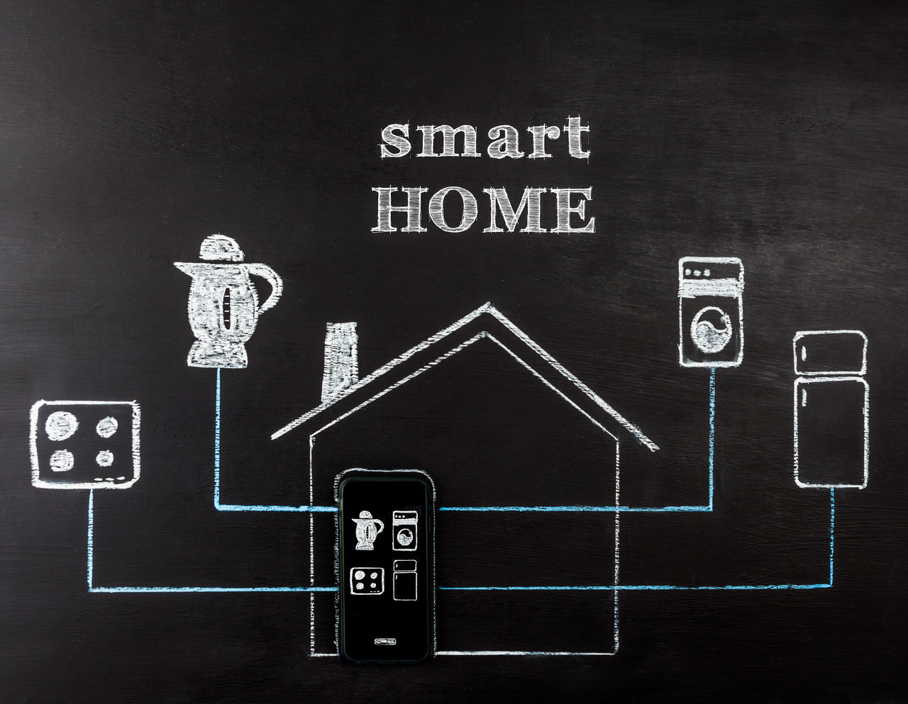 Smart home concept hand drawing on chalk board. Mobile phone controlling home appliances. Horizontal image with text. Appliances Blackboard  Blackboard  Chalkboard Communication Concept Conceptual Photography  Drawing No People Smart Home Smart House