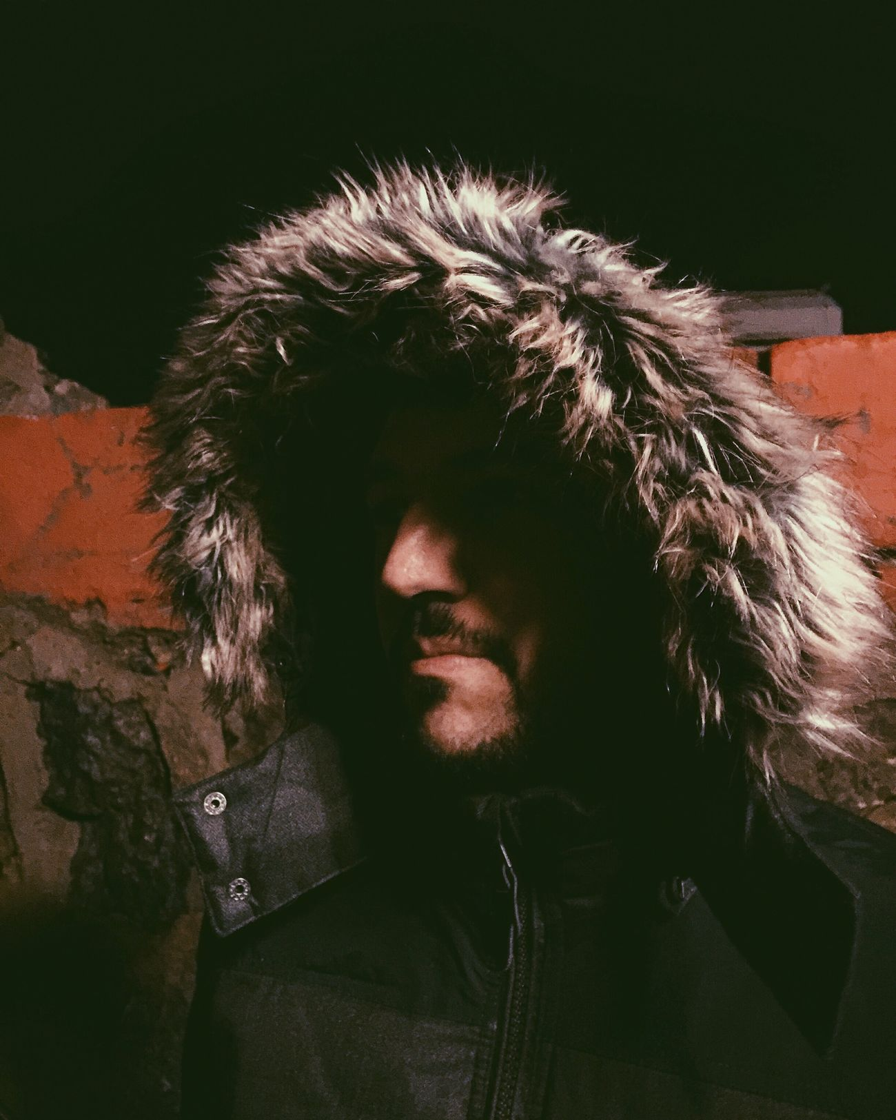 Nighttime Stroll Walk Istanbul Turkey Guy Man Bearded Man Bearded Guy Hood Fur Faux Fur Night iPhone 6 Plus