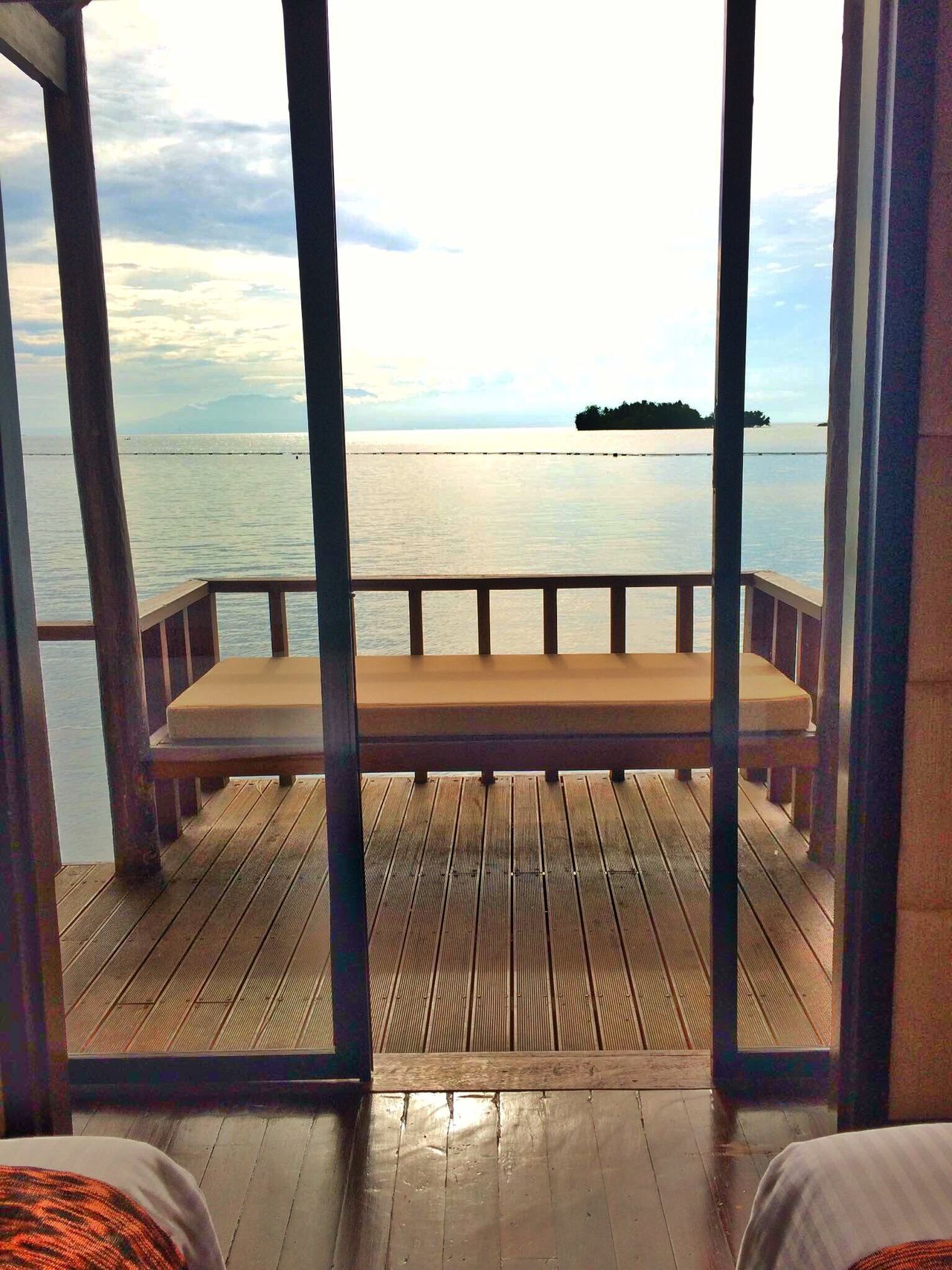 Table Chair Sea Indoors  Hardwood Floor Window Horizon Over Water No People Day Travel Destinations Philippines Tranquility Waterbungalows Furniture Nature Sky Water Luxury Scenics
