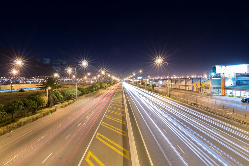 Beautiful stock photos of afrika, Cape Town, Illuminated, In A Row, Light Trail