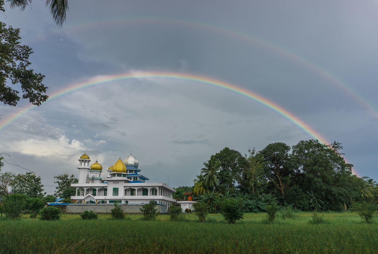 Architecture Beauty In Nature Building Exterior Built Structure Cloud - Sky Day Double Rainbow Full Length Grass Masjid Mosque Multi Colored Nature No People Outdoors Paddy Field Rainbow Scenics Sky The Great Outdoors - 2017 EyeEm Awards Tree EyeEmNewHere First Eyeem Photo The Architect - 2017 EyeEm Awards