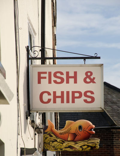 Traditional Fish and Chip shop sign British COD Fish And Chips Food And Drink Meal Sign Food Fried Take Away Text Traditional