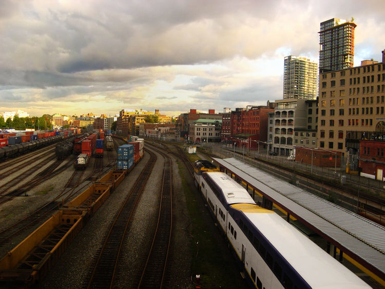 Vancouver Sunset at the Waterfront Station Architecture Building Exterior Built Structure Canada City Cityscape Cloud - Sky Day Gastown Mode Of Transport No People Outdoors Public Transportation Rail Transportation Railroad Track Sky Sky And Clouds Skyline Skyscraper Sunset Train - Vehicle Transportation Vancouver BC Waterfront Station Woodward First Eyeem Photo