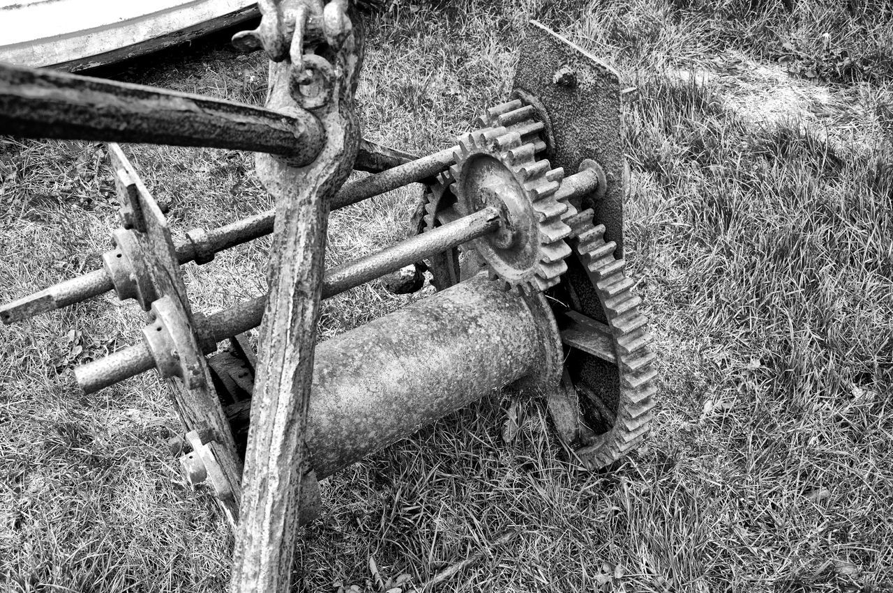 grass, field, abandoned, no people, obsolete, rusty, day, transportation, outdoors, wheel, close-up