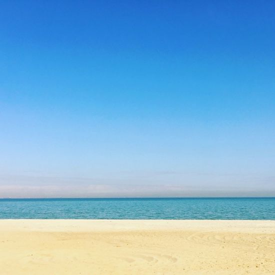 Beach Sea Blue Sand Horizon Over Water Water Nature Beauty In Nature Tranquil Scene Day Sky Clear Sky Vacations No People Outdoors Tranquility