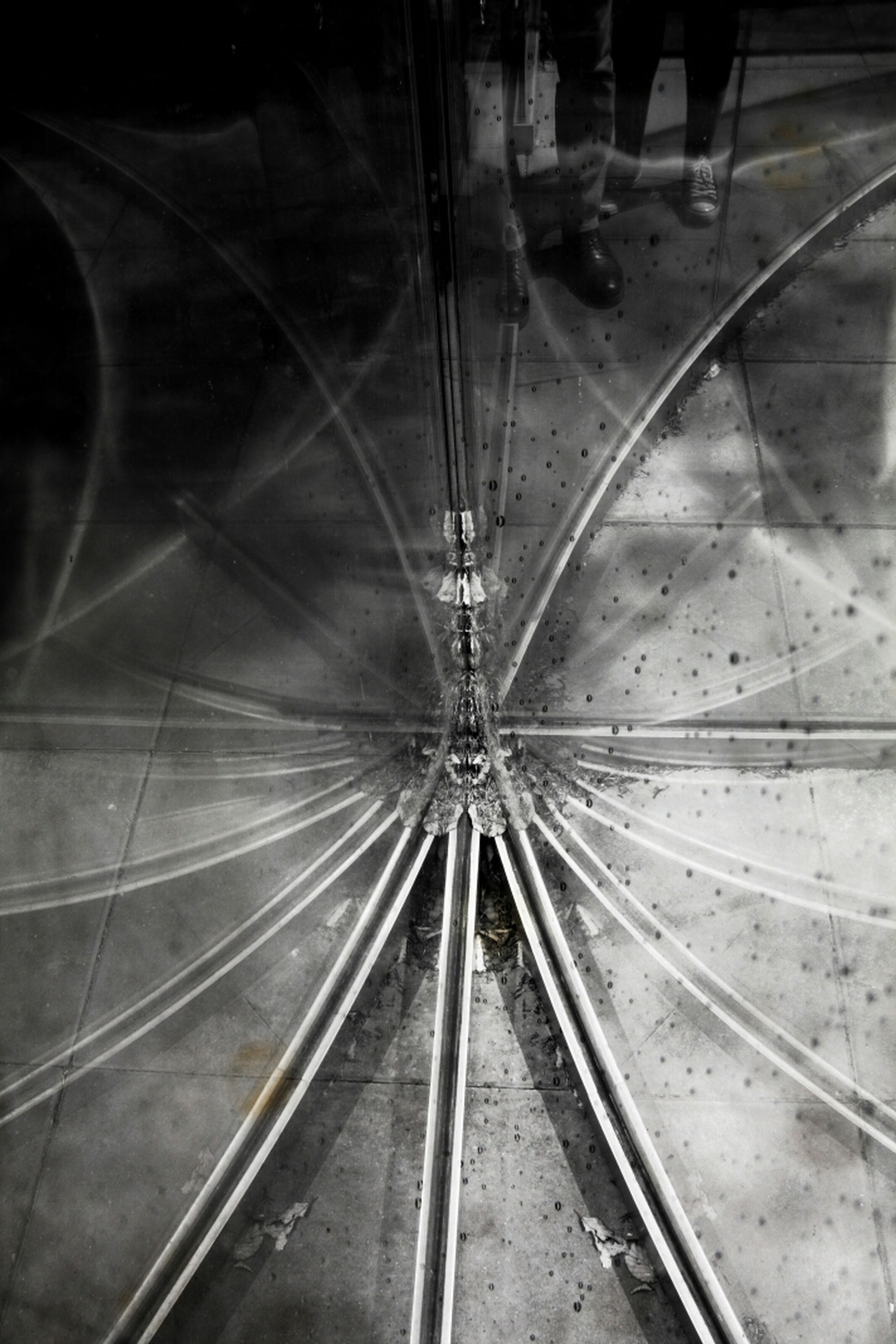 indoors, ceiling, transportation, tunnel, built structure, vanishing point, architecture, pattern, diminishing perspective, railroad track, no people, the way forward, illuminated, low angle view, high angle view, rail transportation, day, umbrella, travel