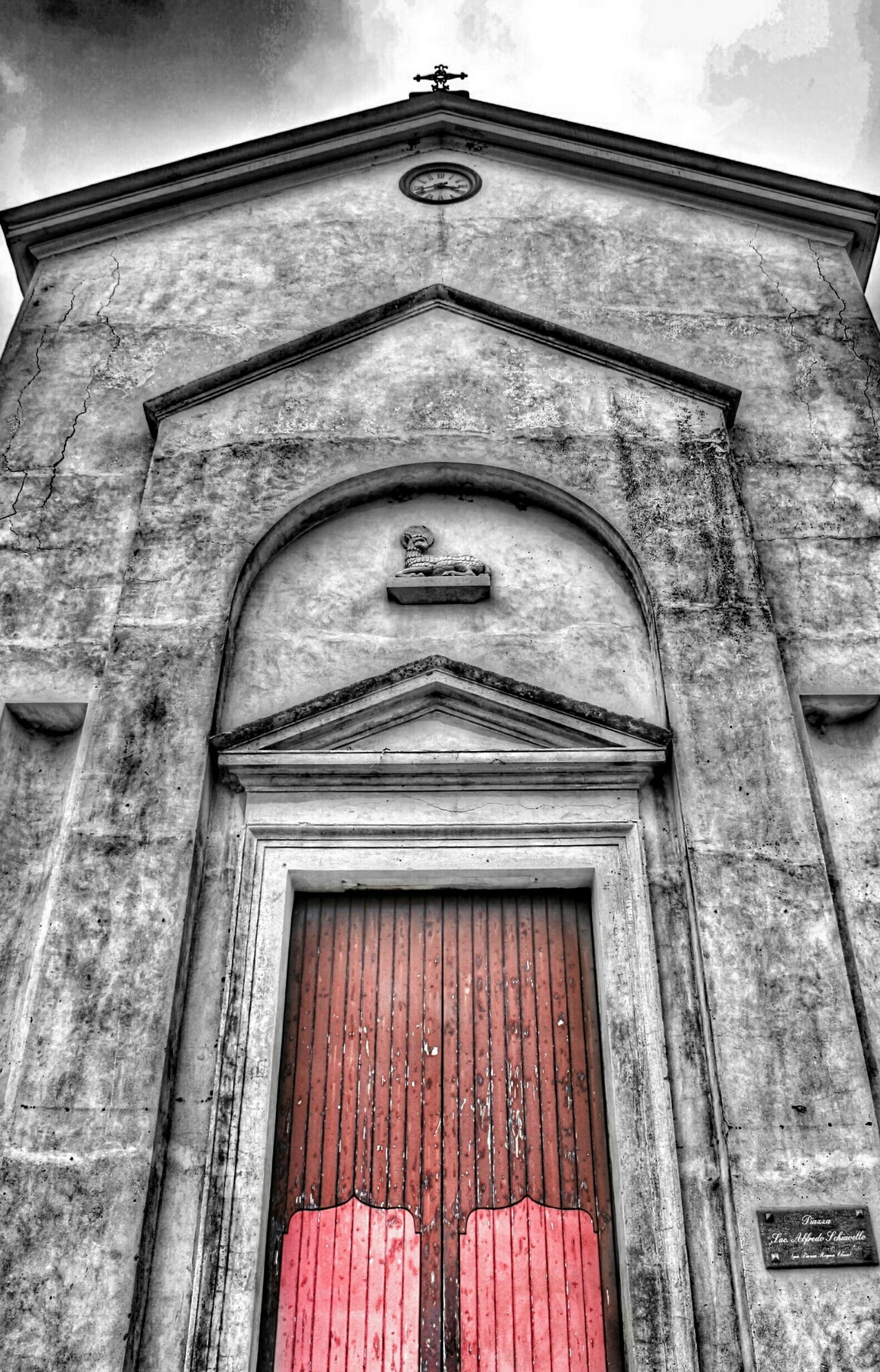 architecture, building exterior, built structure, low angle view, door, old, facade, arch, window, entrance, closed, history, church, day, outdoors, weathered, ornate, religion, no people