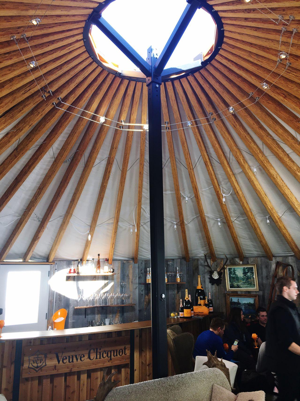 Luxe yurt Apres Ski Bar Champagne Built Structure Lifestyles Illuminated Architecture Day Luxe Rustic Yurt Skiresort Ambiance Ski Yurt