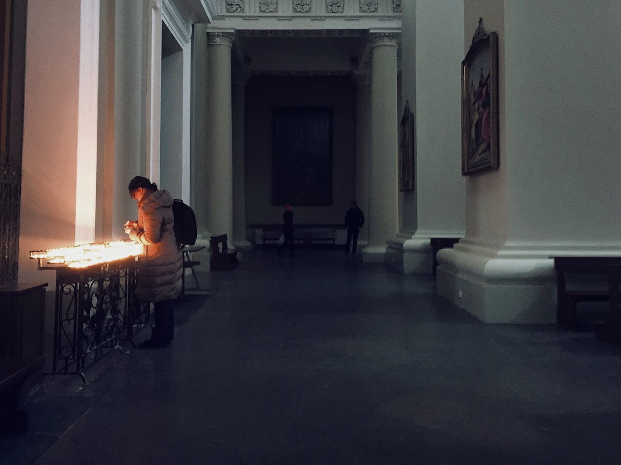 Indoors  Table Chair One Person Real People Sitting Full Length Illuminated Church Praying Day One Man Only People Adult