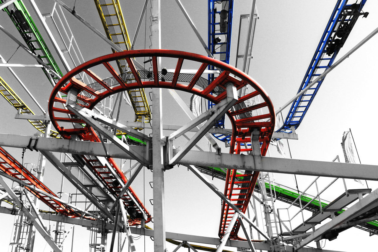 Amusement Park Ride Arts Culture And Entertainment Capital Cities  Day Engineering Low Angle View Metallic No People Outdoors Part Of Rollercoaster Sky Tall - High Tourism Travel Destinations