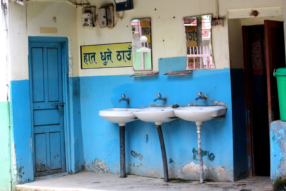 Three in a row ASIA Bathroom Blue And White Blue Door Hygiene In A Row Lavatory Nepal Restroom Side By Side Sink Sinks Travel Travel Photography Water Tap Repetition Repeat