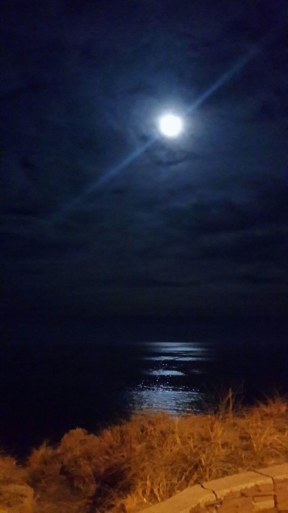 Luna Llena Paisaje Noche Mar Resplandor Reflejo 43 Golden Moments