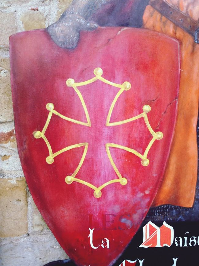 Cathar Cross on a Shield in Carcassonne France